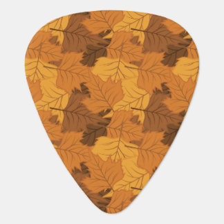 Autumn leaves background guitar pick