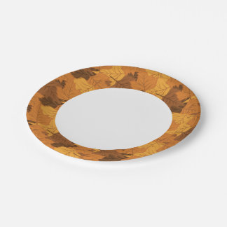 Autumn leaves background paper plate