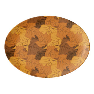 Autumn leaves background porcelain serving platter
