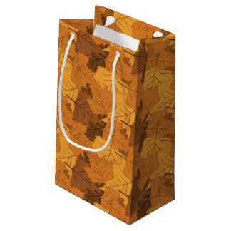 Autumn leaves background small gift bag