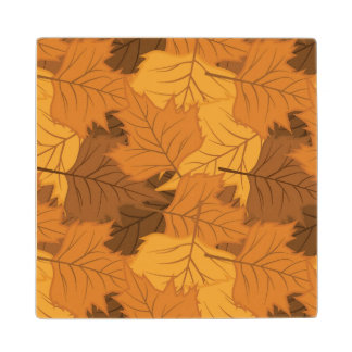 Autumn leaves background wood coaster