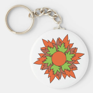 Autumn Leaves Basic Round Button Key Ring