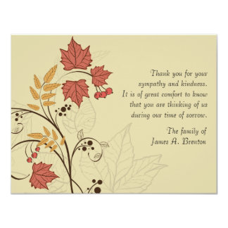 Autumn Leaves Bereavement Thank You Notecard 11 Cm X 14 Cm Invitation Card
