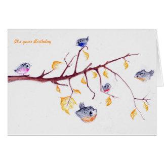 Autumn leaves birthday card