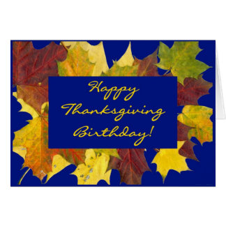 'Autumn Leaves' Birthday on Thanksgiving Card