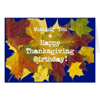 'Autumn Leaves' Birthday on Thanksgiving Card