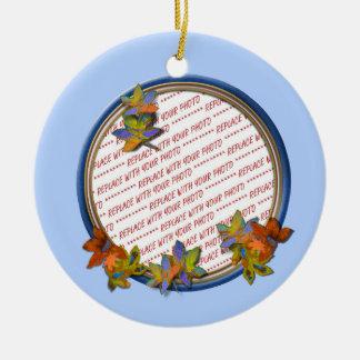 Autumn Leaves & Blue Circle Frame on Light Blue Round Ceramic Decoration