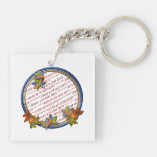 Autumn Leaves & Blue Frame Double-Sided Square Acrylic Key Ring