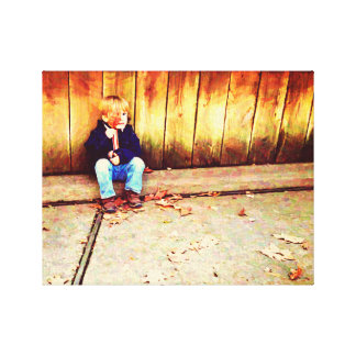 Autumn Leaves Boy Gallery Wrapped Canvas