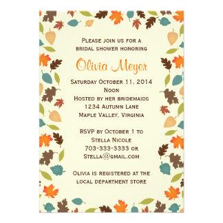 Autumn Leaves Bridal Wedding Shower Invitations