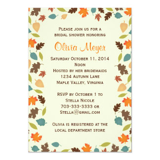 "Autumn Leaves Bridal Wedding Shower Invitations 5"" X 7"" Invitation Card"