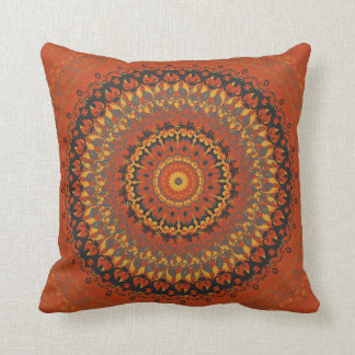 Autumn Leaves Brown Mandala Cushion