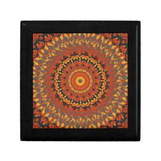 Autumn Leaves Brown Mandala Trinket Boxes