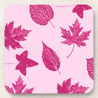 Autumn leaves - burgundy and shell pink drink coasters