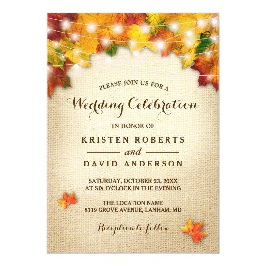 Autumn Leaves Burlap String Lights Fall Wedding Card