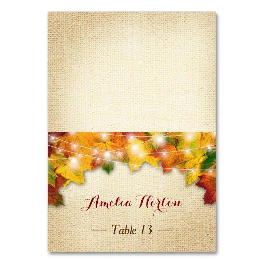 Autumn Leaves Burlap Wedding Place Escort Card