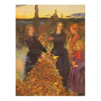 Autumn Leaves by Millais Vintage Victorian Art Postcards