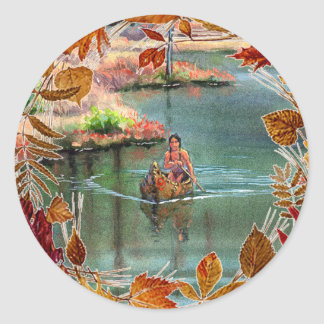 AUTUMN LEAVES CANOE by SHARON SHARPE Classic Round Sticker