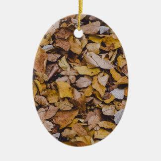 Autumn leaves ceramic oval decoration