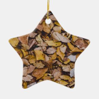 Autumn leaves ceramic star decoration