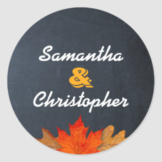 Autumn Leaves Chalkboard Personalized Stickers