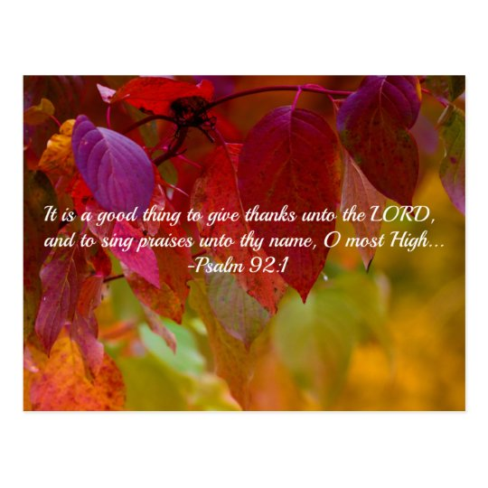 Autumn Leaves Christian Bible Verse Psalms Postcard
