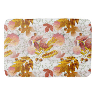 Autumn Leaves & Chrysanthemums #10 Bath Mat