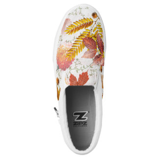 Autumn Leaves & Chrysanthemums Monogrammed #1 Printed Shoes