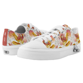 Autumn Leaves & Chrysanthemums Monogrammed #2 Low Tops