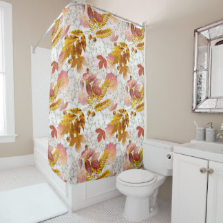 Autumn Leaves & Chrysanthemums Monogrammed #5 Shower Curtain