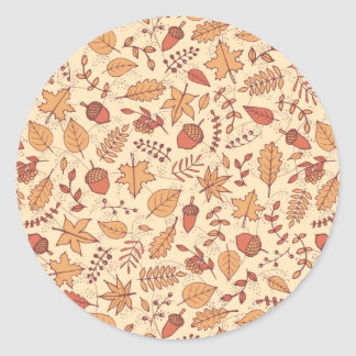 Autumn Leaves Classic Round Sticker
