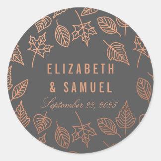Autumn Leaves Copper Grey Round Wedding Sticker