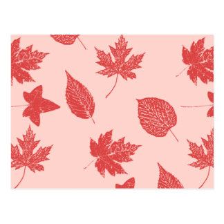Autumn leaves - coral orange and pink post card