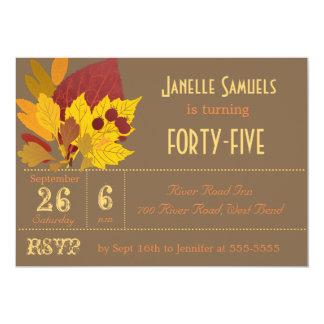 Autumn Leaves Customized Birthday Invitation