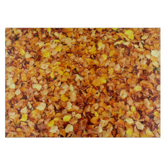 Autumn Leaves Decorative Glass Chopping Board