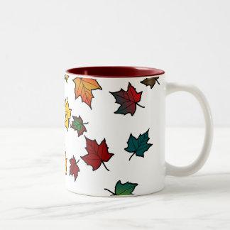 autumn leaves design mugs