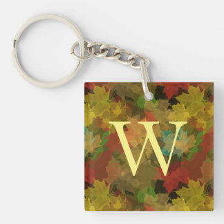 Autumn Leaves Double-Sided Square Acrylic Key Ring