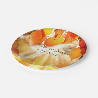 Autumn Leaves Fall Wedding Paper Plate 7 Inch Paper Plate