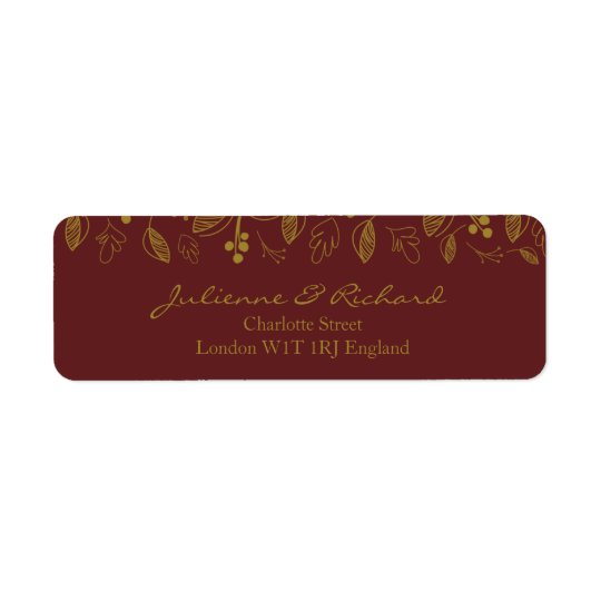 Autumn Leaves Fall Wedding Return Address Labels