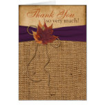 Autumn Leaves, FAUX Burlap PHOTO Thank You Card