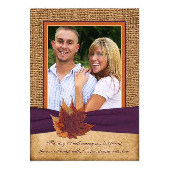 Autumn Leaves, FAUX Burlap PHOTO Wedding Invite