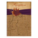 Autumn Leaves FAUX Burlap Reception Enclosure Card Pack Of Chubby Business Cards