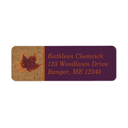 Autumn Leaves, FAUX Burlap Return Address Label