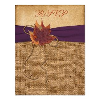 Autumn Leaves, FAUX Burlap RSVP Card 11 Cm X 14 Cm Invitation Card
