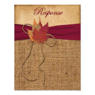 Autumn Leaves, FAUX Burlap RSVP Card 3 11 Cm X 14 Cm Invitation Card
