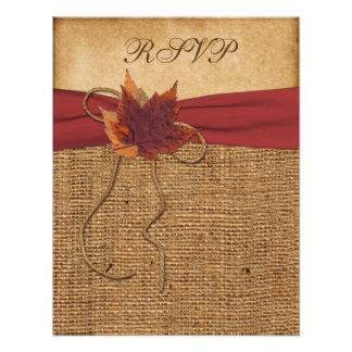 Autumn Leaves FAUX Burlap RSVP Card