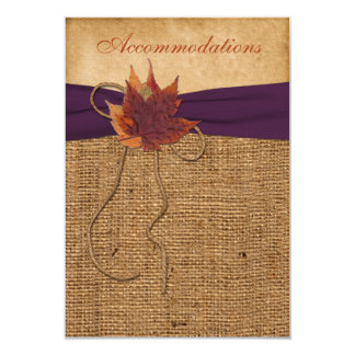 Autumn Leaves, FAUX Burlap Wedding Enclosure Card 9 Cm X 13 Cm Invitation Card