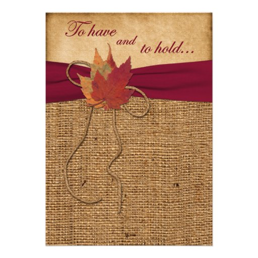 Autumn Leaves, FAUX Burlap Wedding Invitation -Red