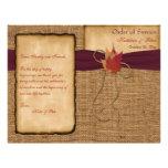 Autumn Leaves, FAUX Burlap Wedding Program - Wine Full Colour Flyer
