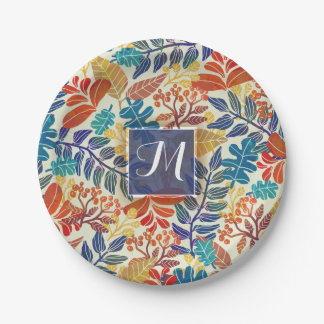Autumn Leaves Fine Floral Background Paper Plate